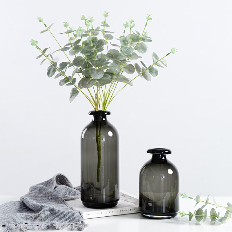 Eenvoudige Glazen Vaas Nordic Stijl Retro Gerookte Dark Vaas Decoratie Woonkamer Tafelblad Decoratie Glazen Bloemenvaas Voor Thuis Vases Aliexpress