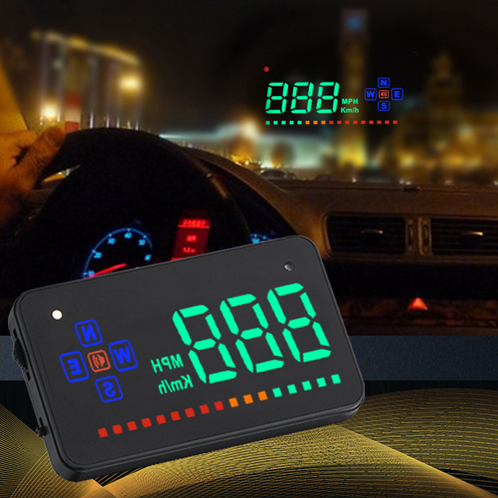 3.5 inch Car HUD Head Up Display LED Speedometer Color Projection Speed Warning for All Cars Auto Electronic Voltage Alarm|Head-up Display| |  - title=