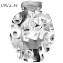 Ahegao 3D printing hoodie men and women fashion anime beauty blush casual street black white
