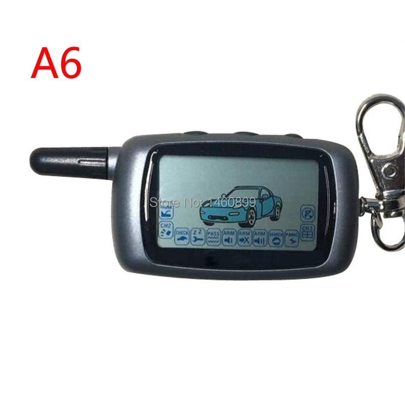 A6 2-way LCD Remote Controller Key Fob For Russian Version Vehicle Security Two Way Car Alarm System Twage Starline A6