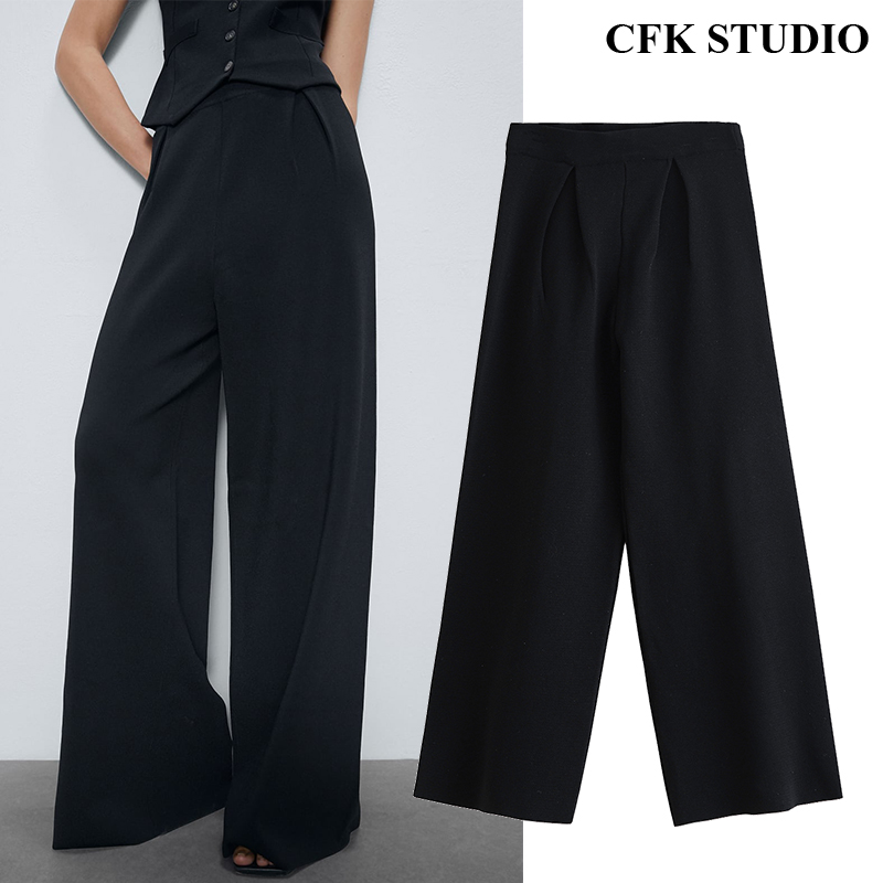 2020 New Za Women Knitted Casual Long  Pants With High Waist Solid Elegant Wide Leg Knitted Black Trousers