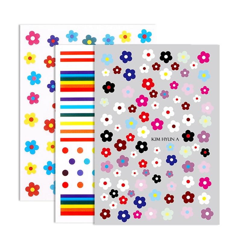 Florvida Korean Series Flower Nail Stickers Fruit Strawberry Orange Design Art Sticker Rainbow DIY