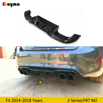 For BMW 2 series F87 M2 rear bumper diffuser 2014 - 2018 M2 AK style real carbon fiber rear lip spoiler