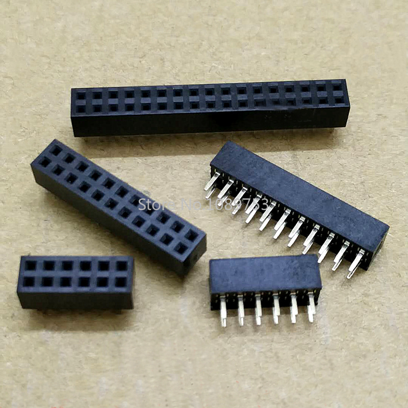 10pcs 2.0mm Double Row Straight Female 2-40P Pin Header Socket Connector 2x2/3/4/5/6/7/8/9/10/12/14/15/20/25Pin