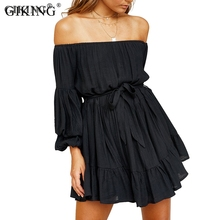 GIKING Elegant Party Dress Women 2019 Off Shoulder Long Sleeve Mini Dresses With Belt Green Black Casual Dress vestidos de festa purple off the shoulder bell sleeves mini dresses with belt