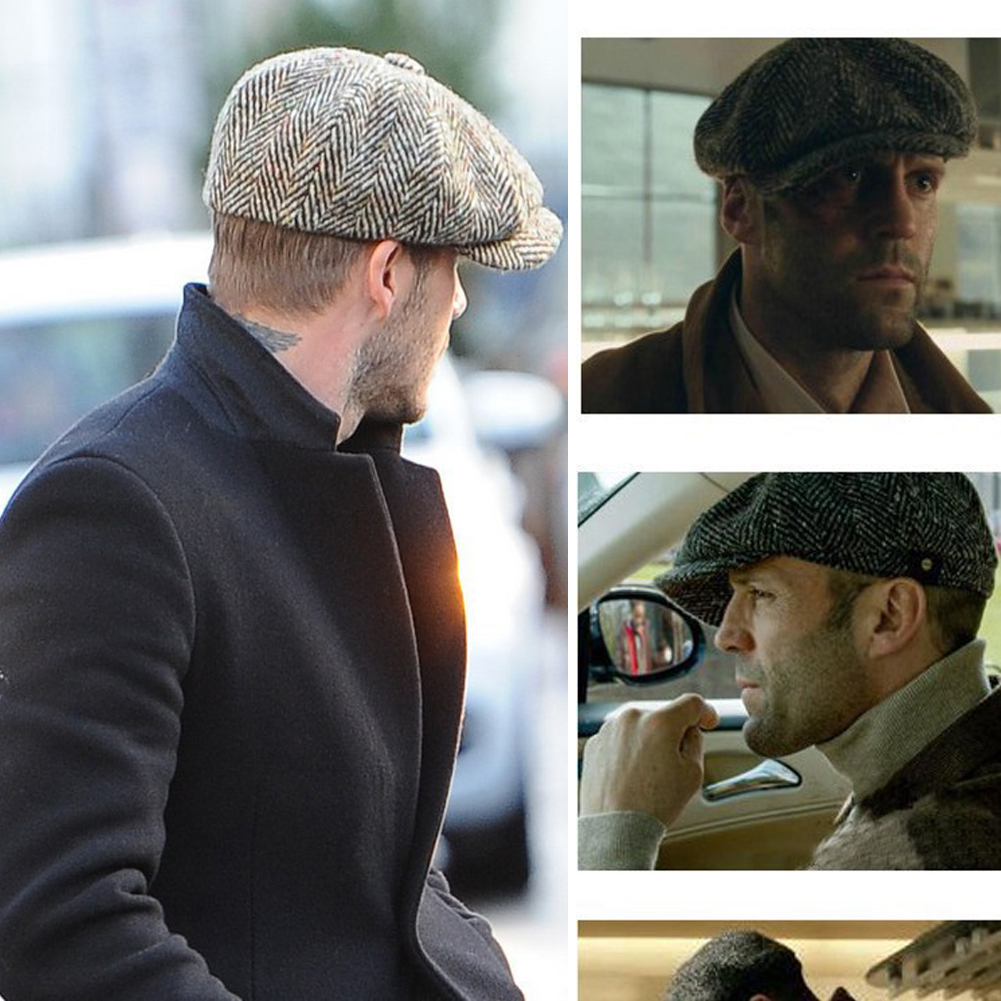 Fashion Vintage Style Mens Panel Tweed Gentleman Octagonal Cap Newsboy Beret Hat Autumn and for Mens Male