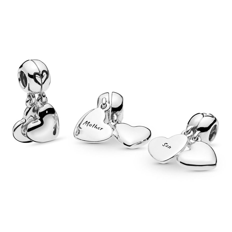 2019 NEW 100% 925 Sterling Silver Mother & Son Love Dangle Charm Suitable DIY Bracelet Women's Pendant Necklace Jewelry Gift
