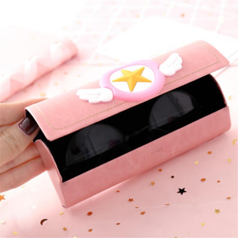 1 pcs Creative Cartoon Frame Glasses Case Pink Cute Student Myopia Glasses Box Portable Sunglasses Storage Box