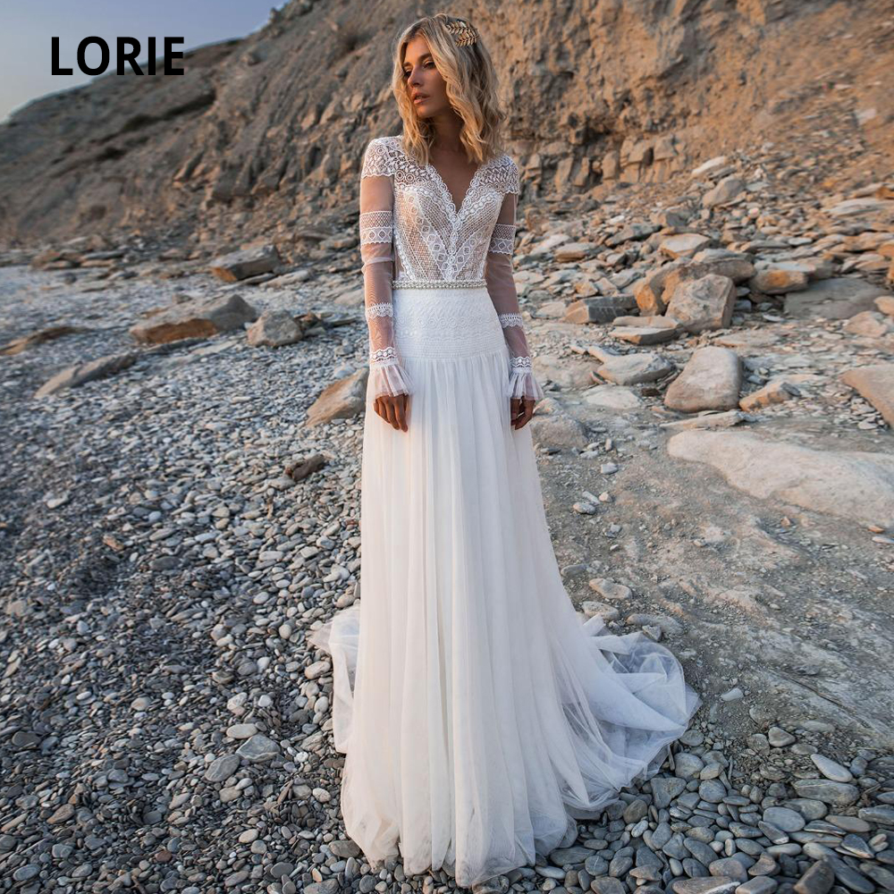 LORIE 2019 Beach Bohemian Wedding Dresses V Neck Long Sleeves Lace Appliques Bridal Gowns Boho A Line Bridal Gowns Plus Size