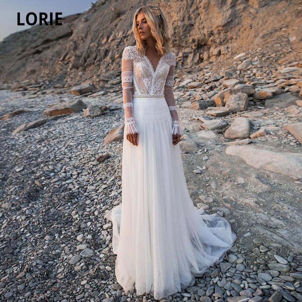 LORIE 2019 Beach Bohemian Wedding Dresses V Neck Long Sleeves Lace Appliques Bridal Gowns Boho A Line Bridal Gowns Plus Size