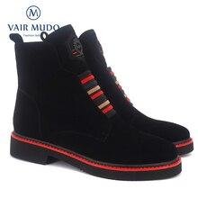 VAIR MUDO צמר פרווה נעלי נשים קרסול מגפי נשים נעלי עור אמיתי אביב סתיו כיכר נמוך העקב ליידי אתחול נעלי DX1