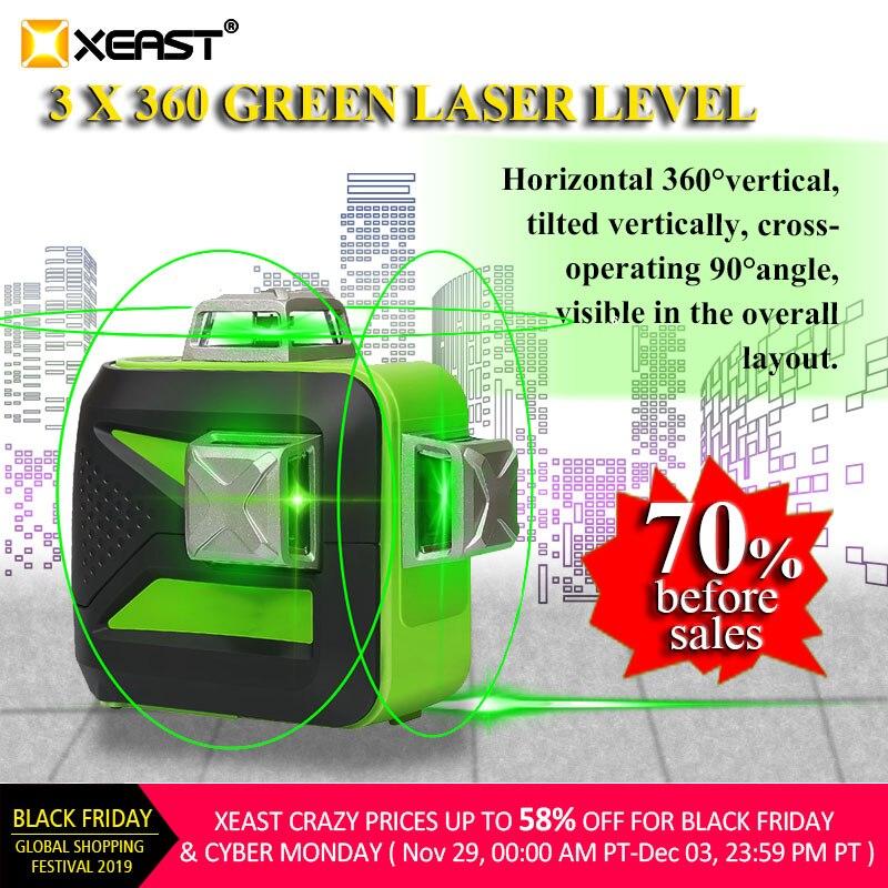 XEAST 12 linien XE-93TG lithium-batterie green laser level 360 Vertikale Und Horizontale Selbst nivellierung Kreuz Linie 3D Laser ebene