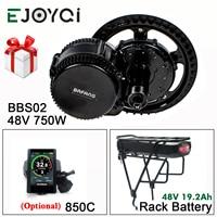 Bafang 8FUN 48V 750W BBS02B MMG320 48V 19.2Ah Rack Battery Mid Drive Motor Ebike Electric Bicycle Conversion Kit with Light