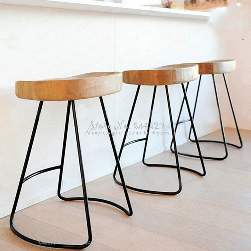 30% Modern Simple Iron Foot Stool Surface Solid Wood Bar Stool Home High Chair Coffee Shop Cold Drink Shop Bar Stool