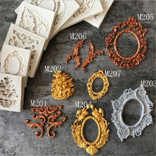 3D Craft Baroque Scroll Relief Silicone Mold Fondant Chocolate Candy Gumpaste Cupcake Frame Baking Cake Decorating Tools