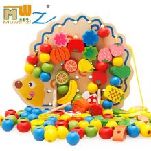 Puzzle wear beads / children's building blocks toys hedgehog fruit beads threading rope / wear beads wooden toys early education