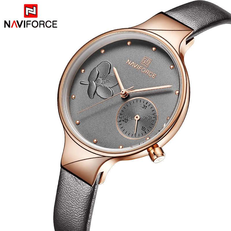 NAVIFORCE นาฬิกาแบรนด์หรูแฟชั่นผู้หญิงนาฬิกาข้อมือควอตซ์นาฬิกาผู้หญิงหนังกันน้ำนาฬิกาผู้หญิง Relogio Feminino