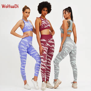 WOHUADI Vest Pants Leggings Yoga-Sets Sports-Suit Running-Clothes Gym Fitness Slim Camouflage