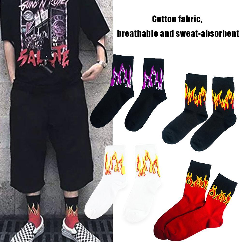 Harajuku Style Tube Socks Flame Korea INS Cotton Hip Hop Men And Women In The Europe Tide Brand