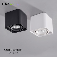 Led Surface Mounted Downlight Square Ceiling Led Downlight Dimmable 10W 12W Led Spot Lamp Angle Adjustable Indoor Spot Lighting dimmable led downlight spot lights ceiling backdrop ceiling down lamp include driver 10w 2 10w white shell black shell