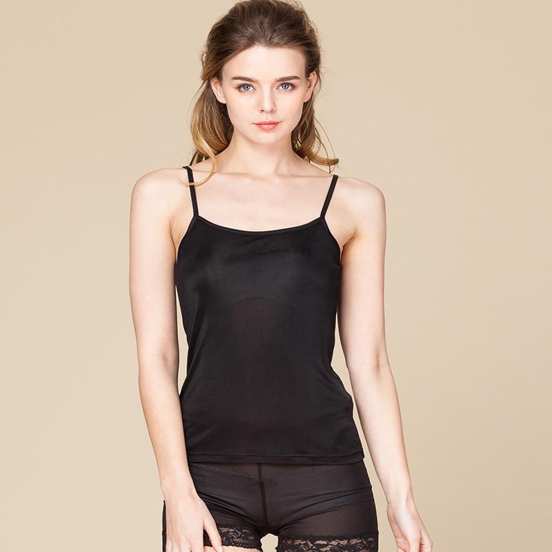Hoffen 2018 Spring Summer 100% Mul berry Silk Camisole Top Comfortable Basic Silk Tank Tops Solid Thin Undershirt Vest WS374