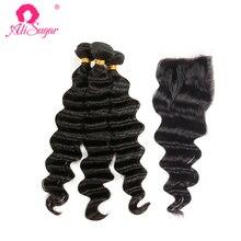 Ali Sugar волосы перуанские свободные волнистые необработанные девственные волосы 3 пряди с закрытием 4*4 швейцарское кружево необработанные человеческие волосы для наращивания