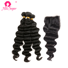 Ali Sugar Hair peruwiański luźna fala włosy dziewicze 3 zestawy z zamknięciem 4*4 szwajcarska koronka 100 nieprzetworzone ludzkie włosy rozszerzenia tanie tanio Luźne fale Virgin hair = 15 NONE Wszystkie kolory 3 sztuk wątek i 1 pc zamknięcia Peruwiański włosów