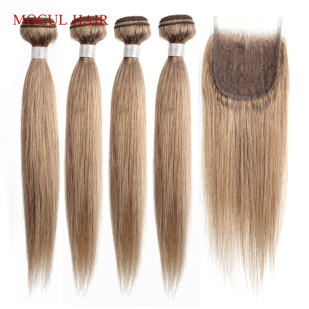 Image 4 - MOGUL HAIR Color 8 Ash Blonde Straight Bundles With Closure 16 24 inch Pre Colored Brazilian Non Remy Human Hair Extension-in 3/4 Bundles with Closure from Hair Extensions & Wigs