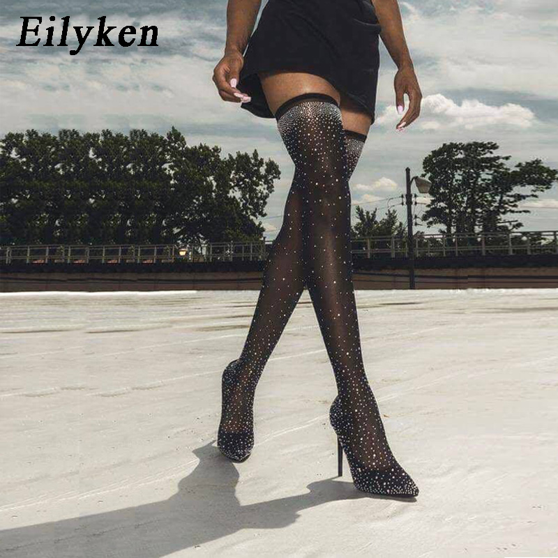 Eilyken 2021 Fashion Runway Crystal Stretch Fabric Sock Boots Pointy Toe Over the Knee Heel Thigh High Pointed Toe Woman Boot