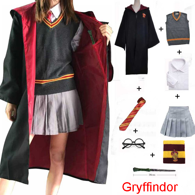 Halloween Cosplay Costume Gryffindor Hufflepuff Slytherin Ravenclaw Costume Hermione Granger Robe Skirt Glasses Uniform
