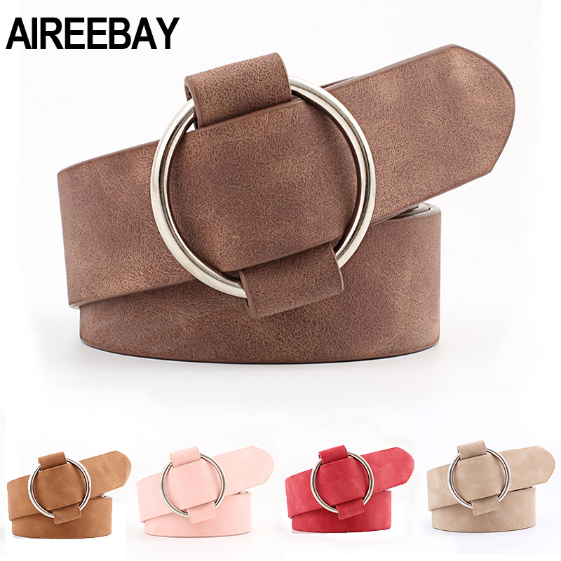 AIREEBAY Female Casua Belts Round Buckle Wide Belts For Women Pink Dress Jeans Belt For Woman Ladies Faux Suede Leather Straps