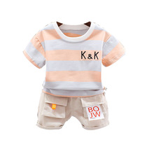 цена на Boy and Girl Baby Fashion Summer Stripe Alphabet Short Sleeve Two-piece Suit Young Children Clothing Tide Leisure Two-piece Suit