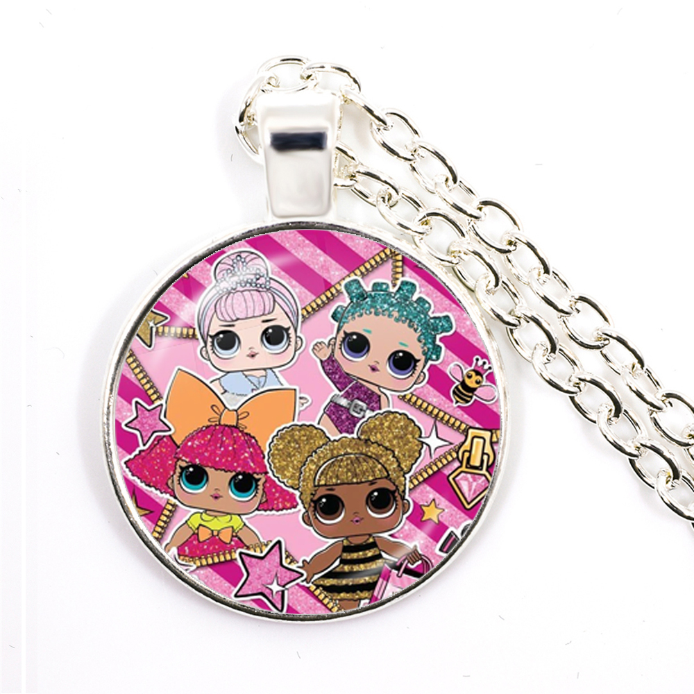 Fashion Cute Pretty Girls Minnie Style Kids 25mm Glass Dome Cabochon Necklace Kawaii Sweater Chain Jewelry Gift For Women Girls 3
