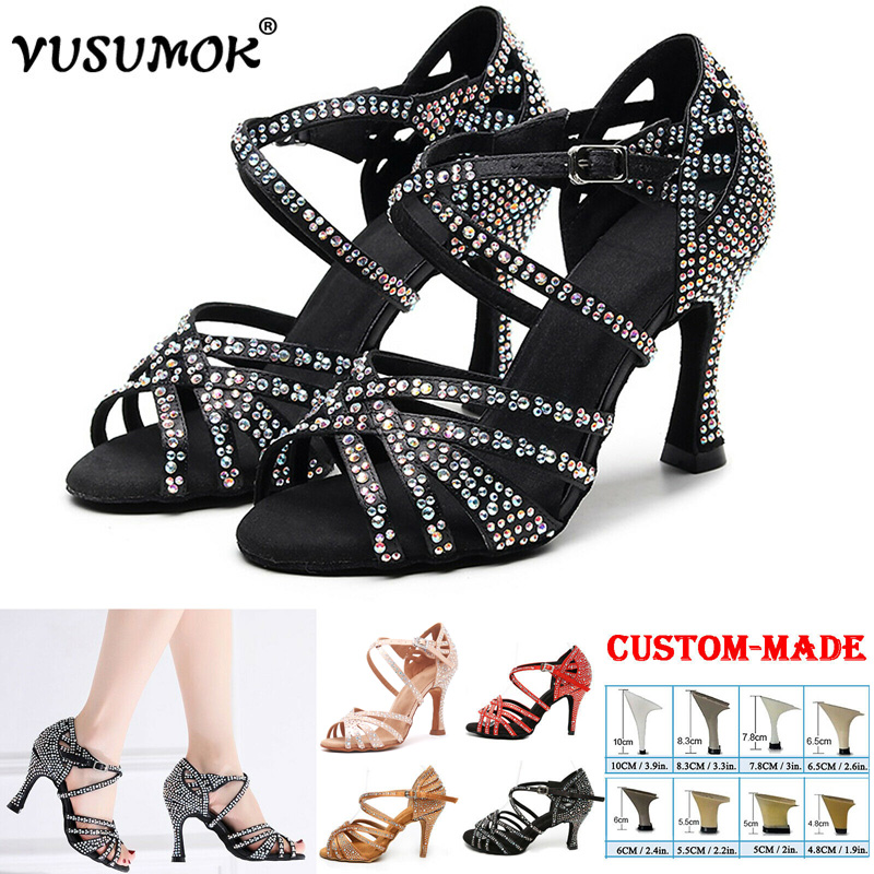 VUSUMOK Women Latin Dance Shoes Satin Shining Rhinestones Ladies Girls Tango Salsa Shoes Open Toe High Heels  Zapatos Mujer