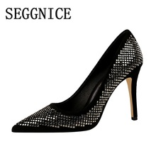 Sexy Fashion Pumps  Bling High Heel Women Shoes 2019 Thin Heels Sequin Ladies Party Wedding Shoes Pointed Toe Zapatos De Mujer все цены