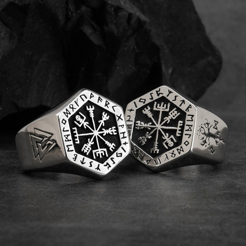 Viking Compass Vegvisir Aegishjalmur Runic Statement Ring Mens Vintage Silver Color Nordic Viking Totem Odin Biker Rings Jewelry