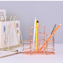 Pen Cup Holder Hexagon iron Hollow Makeup Brush Organizer Stationery Storage Container Gold Pencil Holder Desk Office Organizer
