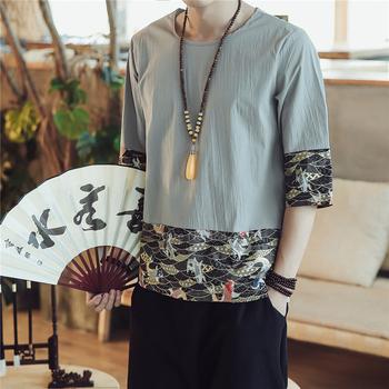Lato 2020 klasyczne koszulki haft chińska bluzka bawełniana pościel karpia Kung Fu Hanfu tradycyjna chińska odzież dla mężczyzn bluzka tanie i dobre opinie COTTON Linen CN (pochodzenie) Tkane Chinese Top