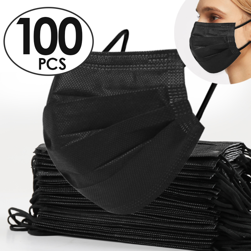 100pcs/lot Antivirus Mouth Mask Virus Nonwove 3 Layer Carbon Filter Men Women Face Mask Dust Mascarilla