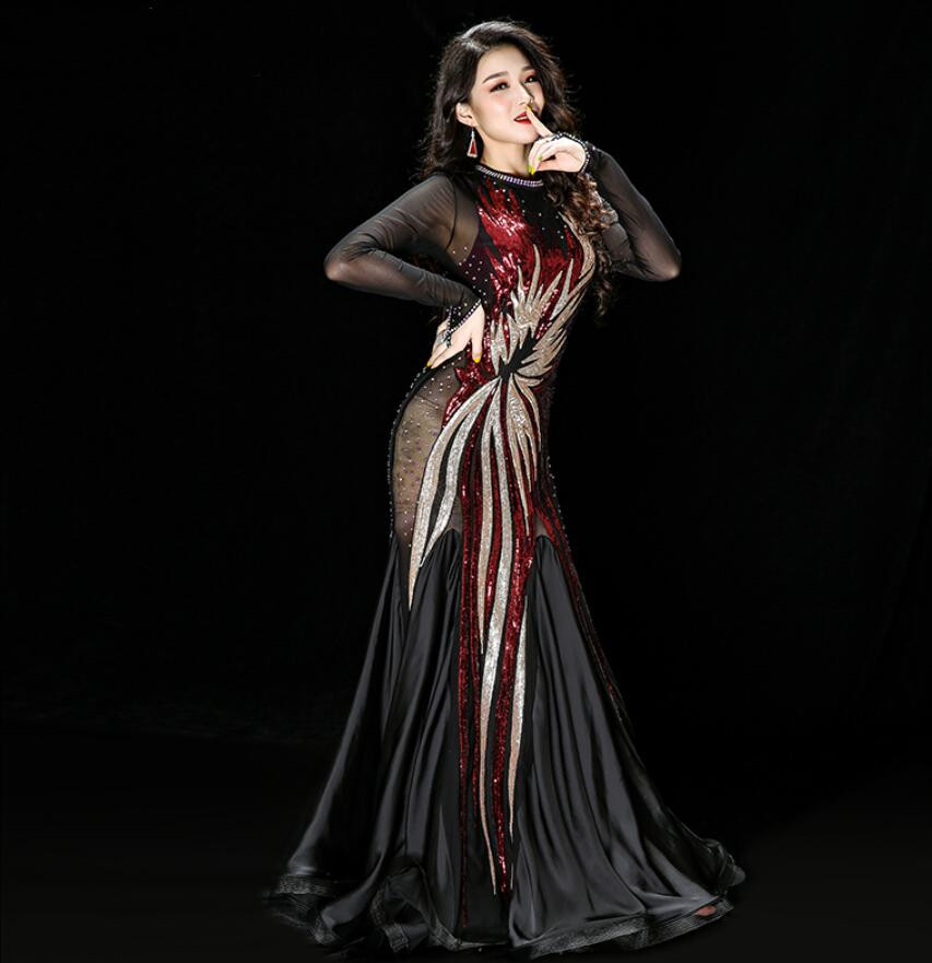 Sexy Belly Dance Egyptian Caftan Pattern Iraq Robe Baladi Costumes Cane Dance Oriental Clothes Long Sleeve Handmade Embroidery