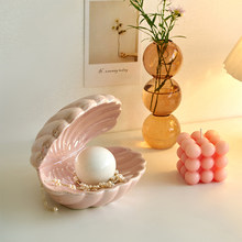 Nordic Home Decor Ceramic Night Light Desktop Decoration Shell Light Jewelry Storage Decorations Bedside Lamp Pink White Gifts
