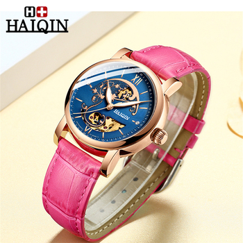 HAIQIN Skeleton Women Mechanical Watch Luxury Brand Ladies Leather Dress Watch Waterproof Female Automatic Clock Montre Femme