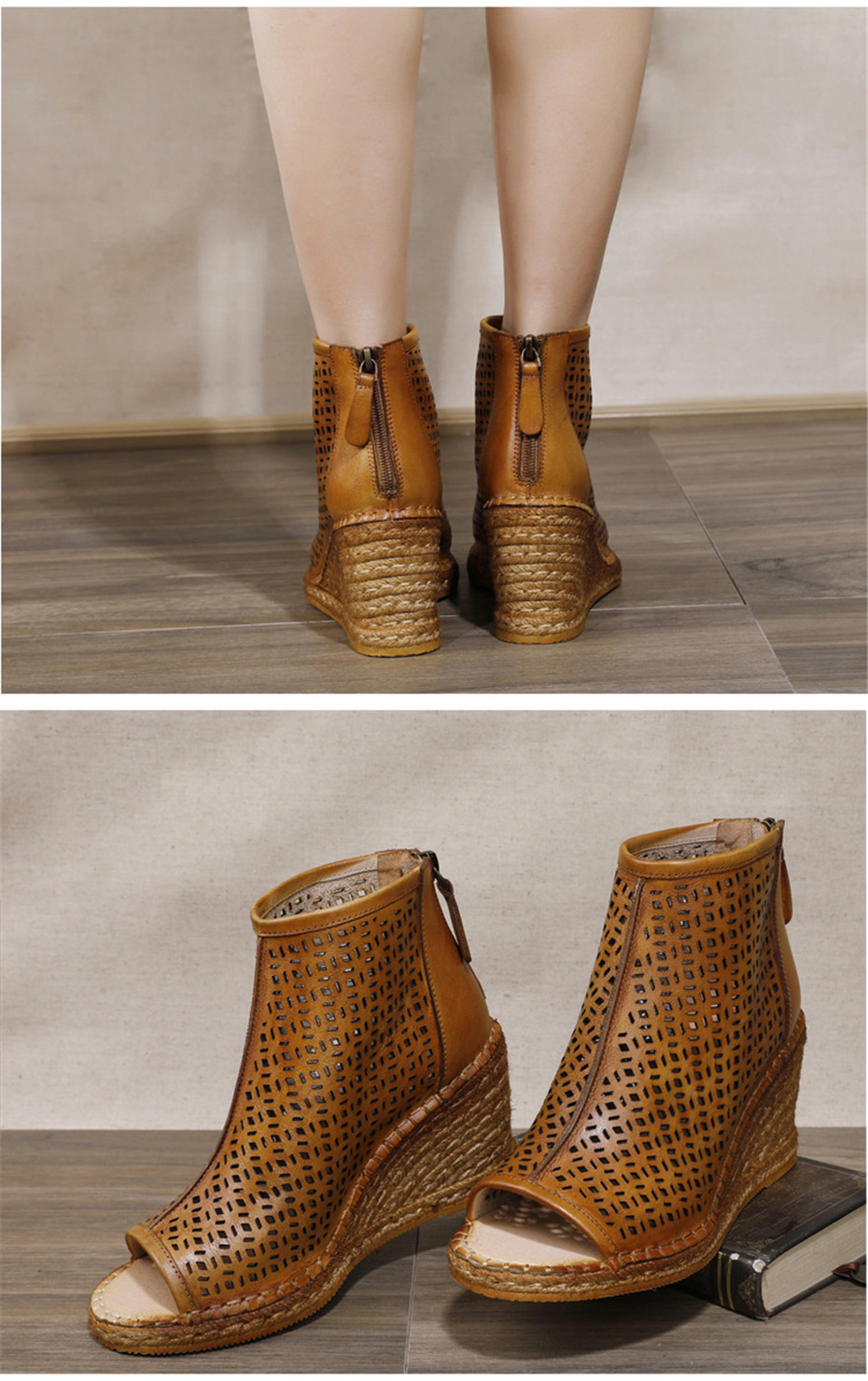 Spring Summer 2020 New Women Wedges Sandals Genuine Leather Peep Toe Hollow Woven High Wedge Heels Shoes Woman High-Top Sandals (14)