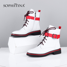 SOPHITINA Fashion Red Tape Boots High Quality Cow Leather Bu