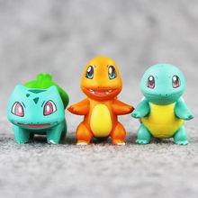 цены 3pcs/set 2~3cm New Pikachued Eevee Anime Mini Charmander Bulbasaur Squirtle Pvc Figure Toy Doll