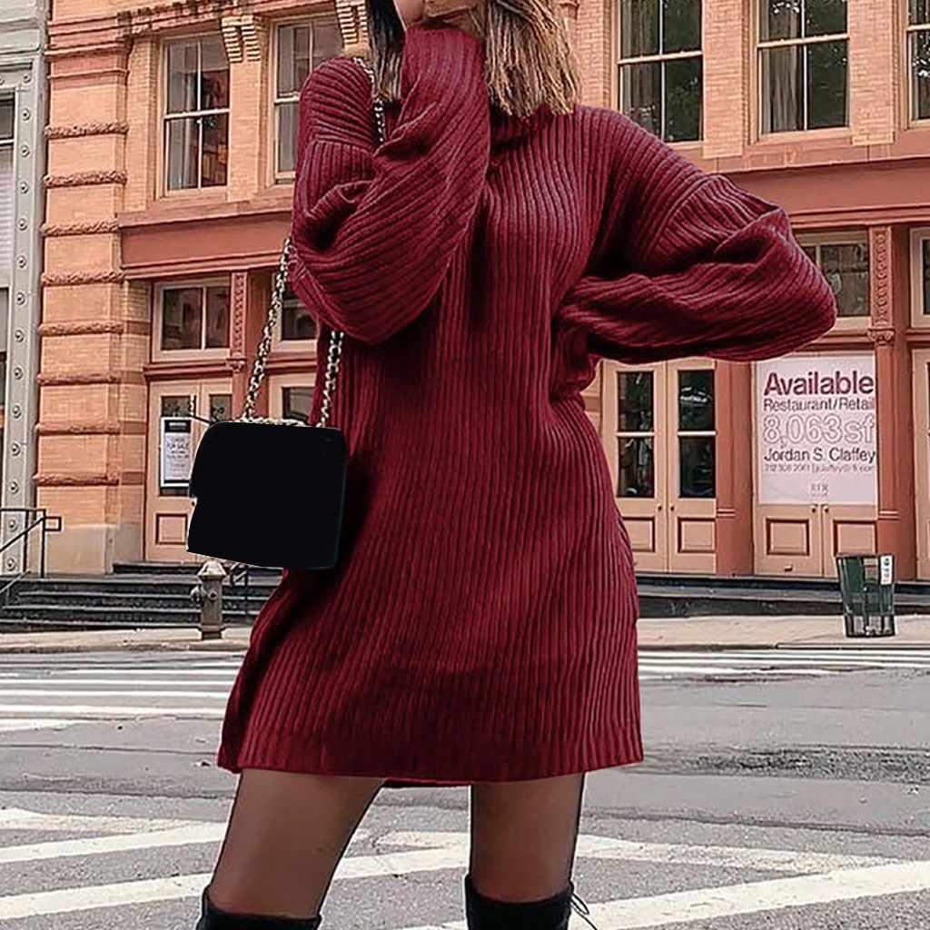 Sukienki Winter Jurk Vrouwen Lange Mouw Effen Kleur Gebreide Truien Casual Winter Plus Size Jurk Ropa Mujer Gewaad Hiver Femme