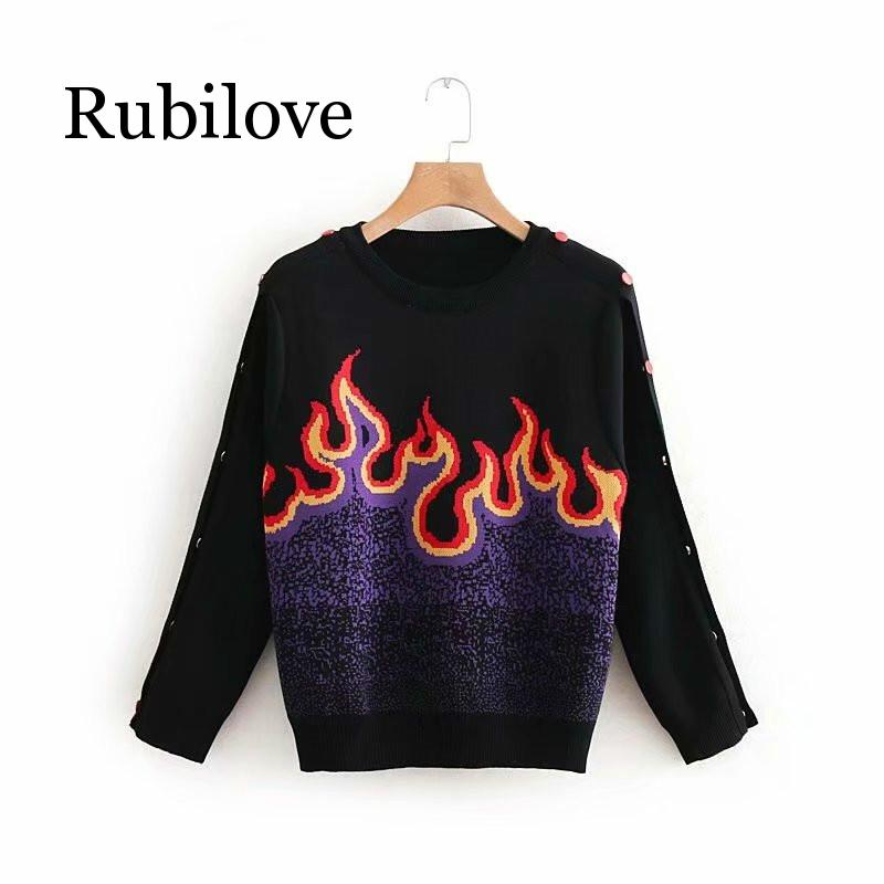 Women Sweater Vintage Flame Jacquard Knitted Pullovers 2019 Spring Autumn Long Sleeve Short Black Sweaters