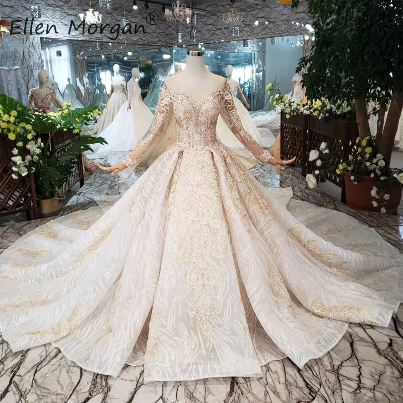 Saudi Arabian Long Sleeves Lace Wedding Dresses Elegant 2019 Boat Neck Backless Applique Beads Bridal Ball Gowns For Women