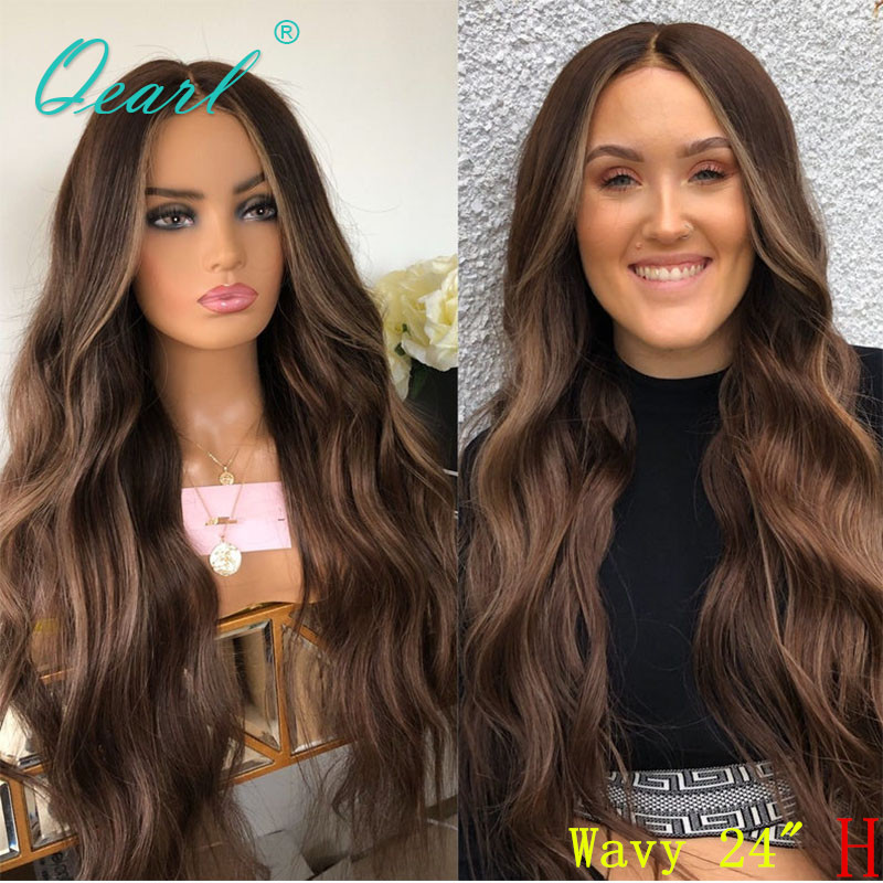 Full Lace Wig Human Hair Chocolate Brown Balayage Color Peruvian Wavy Remy Hair Deep Middle Part 130% 150% Preplucked Qearl