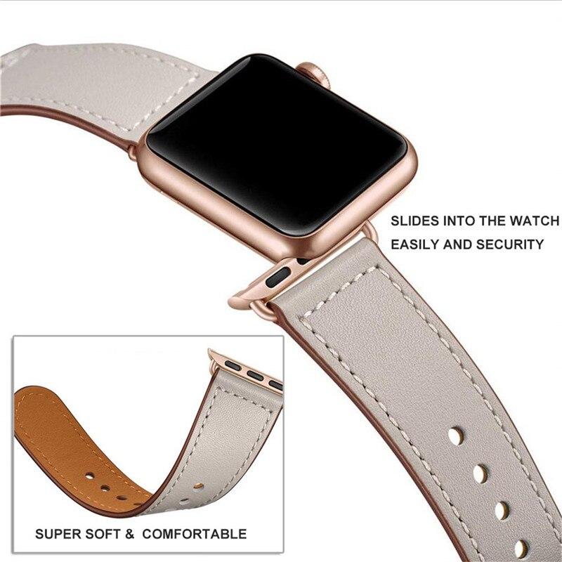 Ivory White correa de reloj de cuero genuino para Iwatch 38mm 44mm, vivotoo correa de reloj de cuero de Color negro para Apple Watch
